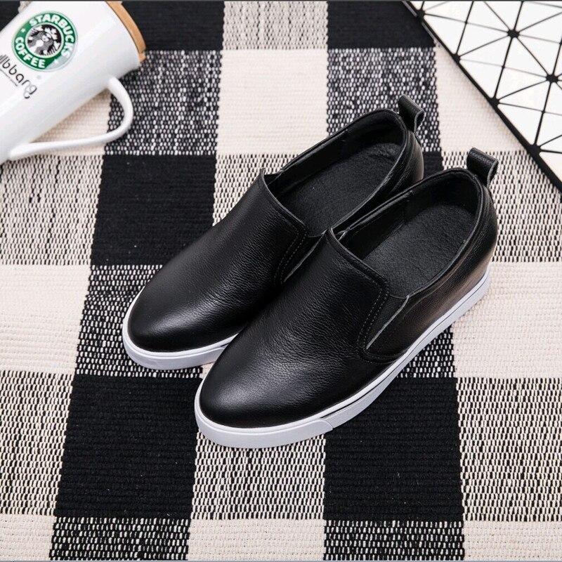 Marque Wedge Véritable Chaussures on white Loisirs Slip En Femmes De Mocassins Black Femme Espadrilles Cuir Designer vwnqXd7