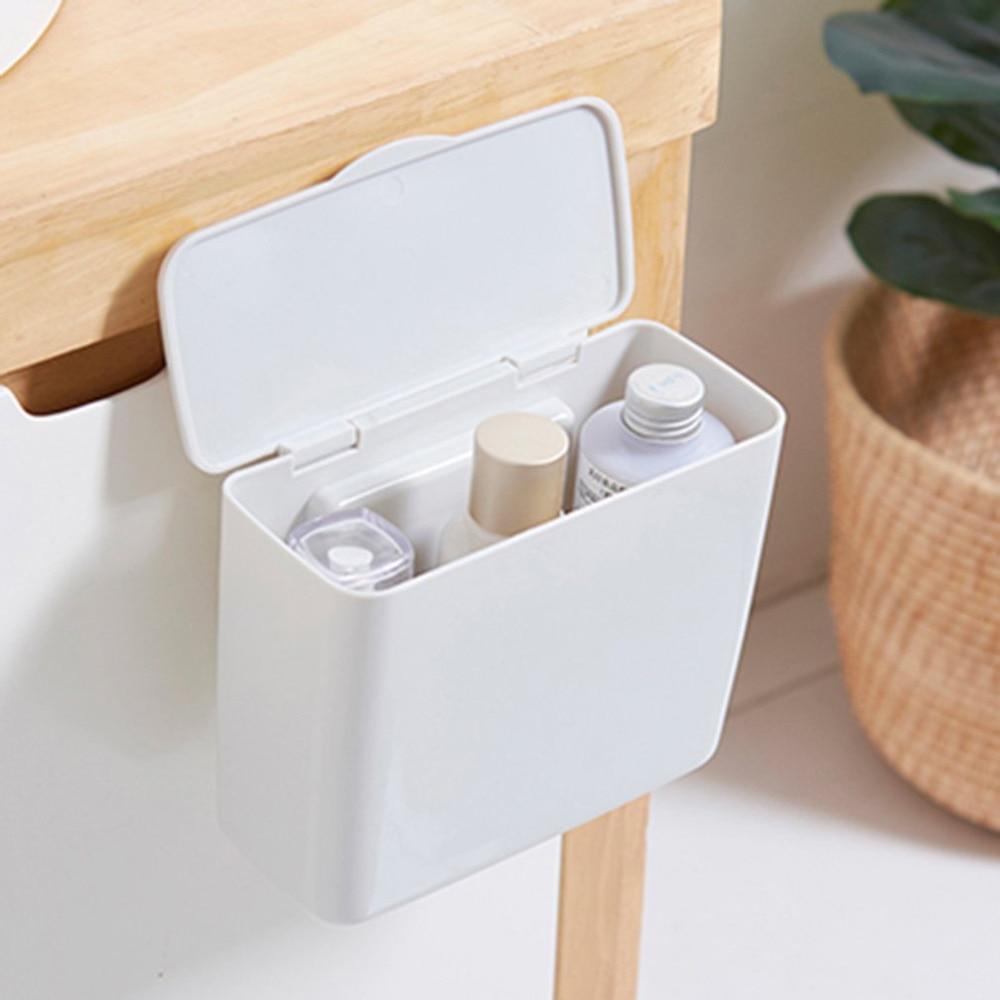 Multifunzione Armadio Porte Appeso Con Coperchio della Scatola Di Immagazzinaggio Della Cucina Pattumiera Bagno Cosmetico Organizzare Contenitore Desktop di Spazzatura Box