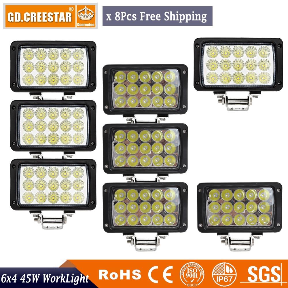 45W obdélník 6x4 LED pracovní světlo offroad záplavová světla 12V 24V světla kamionu světla do mlhy pro kabinu / člun / SUV / kamion / auto x8ks