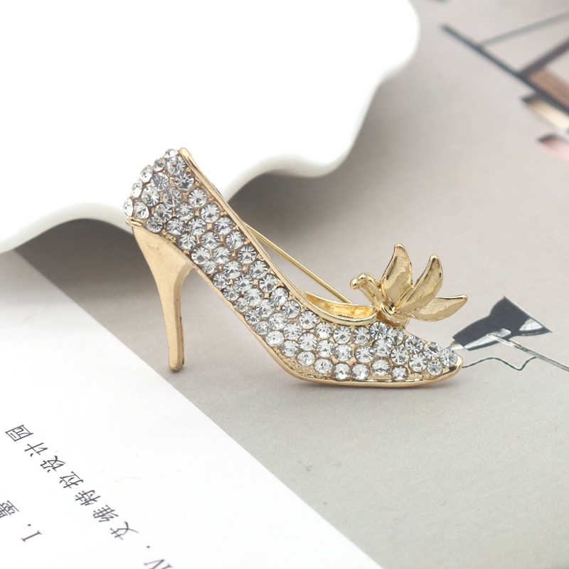 Luxury High-Heeled Shoes Brooch Rhinestone Shoe Flower Pins Brooches For Women Girls Drop Shipping