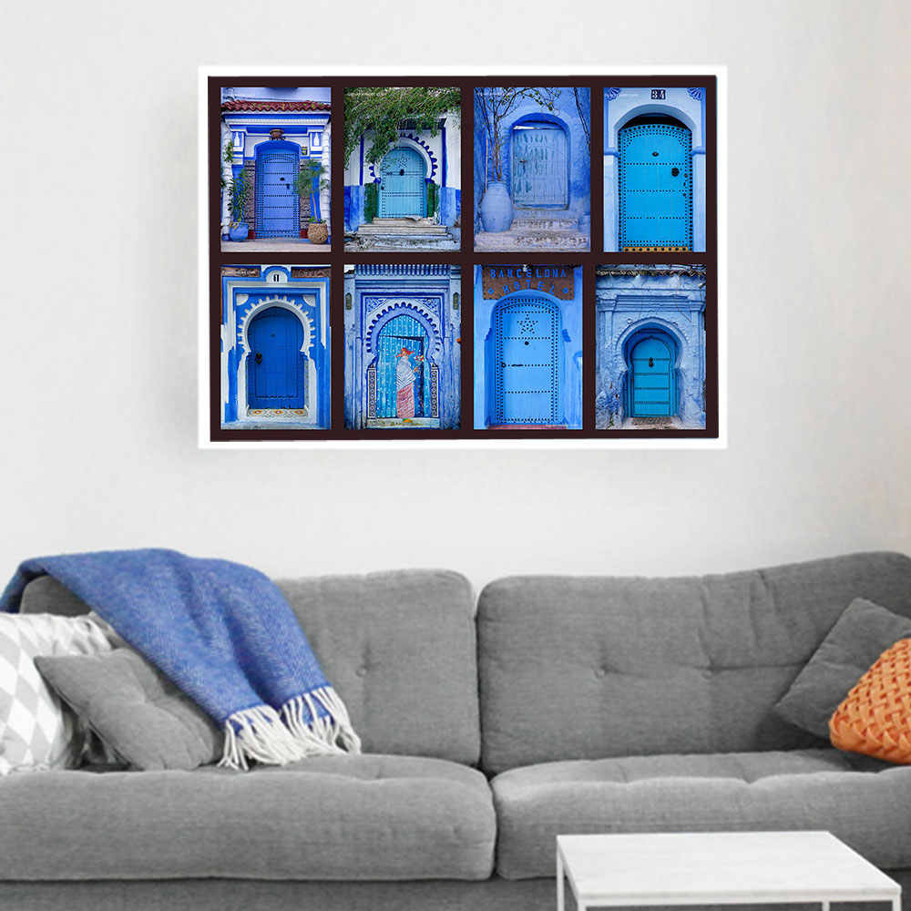 Morocco Door Canvas Poster Nordic Style Blue Wall Art Print Painting Decoration Picture Home Decor Metal Organic Glass Framed