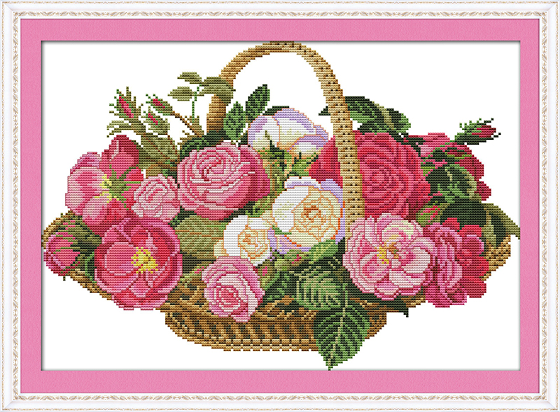 Flowers Rose Basket 2 Canvas Dmc Cross Stitch Kits Art Crafts