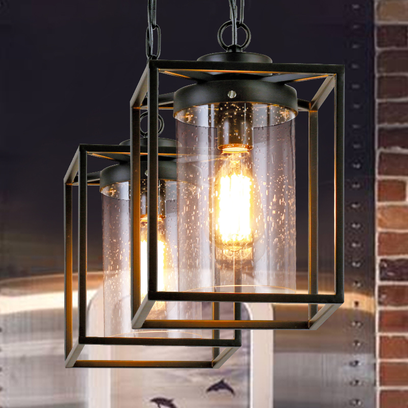 King of American country modern minimalist dining room balcony pendant light single head iron glass retro industry