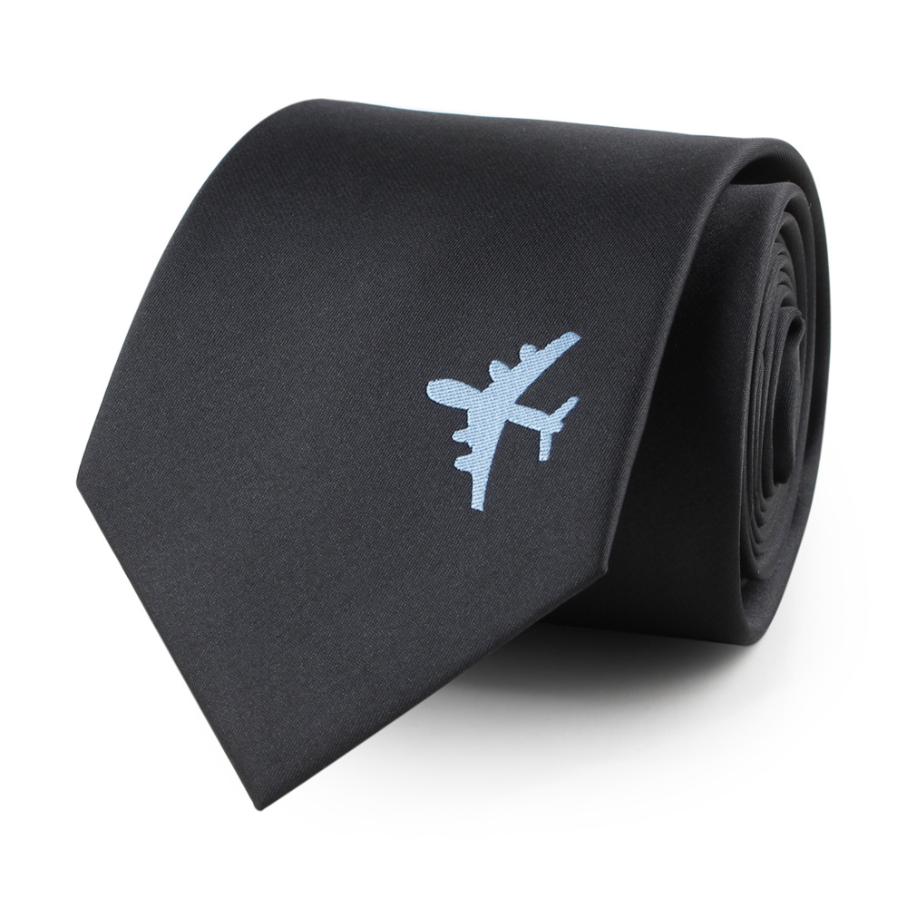 VEEKTIE Fashion 8cm Air Plane Pattern Necktie Solid Black Business Handsome Cool Ties For Men Aircraft Style Vestidos Cravate