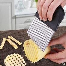 Резак для картофеля фри из нержавеющей стали с зубчатым лезвием для легкой нарезки, инструмент для резки овощей и фруктов, волнистый нож, нож-измельчитель, аксессуары Y21