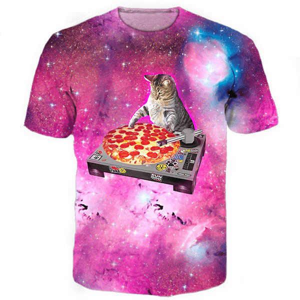 DJ ピザ猫 Tシャツ銀河星雲スペースピザ 3d プリント Tシャツ猫子猫動物トップス Tシャツ女性男性カジュアル tシャツ 5XL