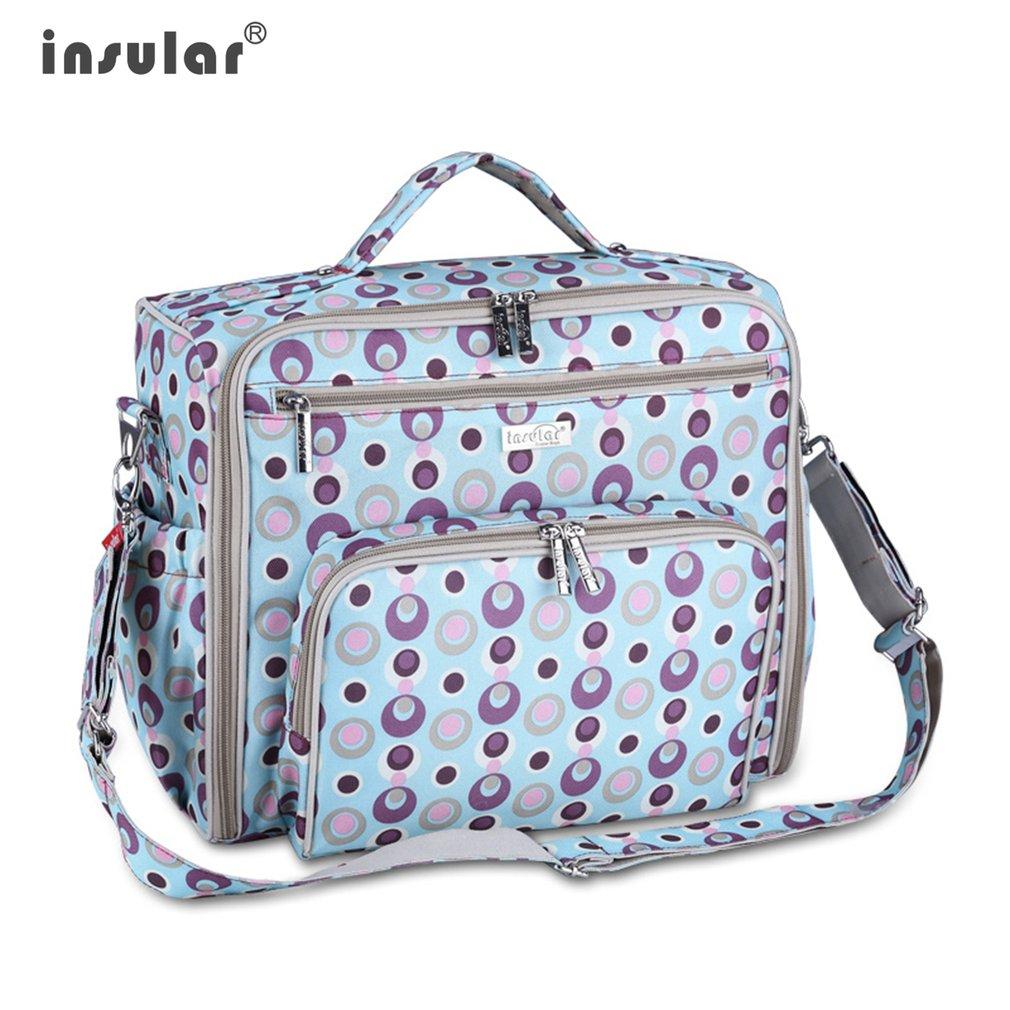 INSULAR Diaper Bag Multifunctional Large-Capacity Mother Bag Printed Nylon Outdoor Backpac Wet Storage Baby Bag Portable