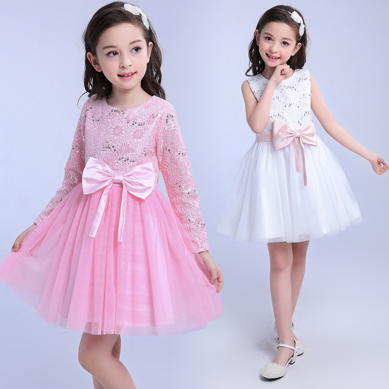 baby dresses girl wedding Christening children girls dress white long sleeve lace bow first birthday party princess dress gorgeous flower lace girls dresses children party ceremonies clothing princess baby girl wedding dress birthday bow christening