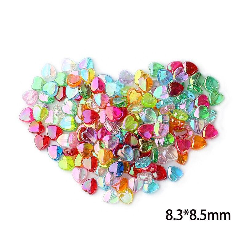 200 Teile/los Transparente Farbe Herz Kunststoff Diy Perlen Großhandel Europäischen Loch Perlen Für Kinder Schmuck Machen Attraktiv Und Langlebig Perlen