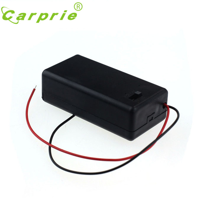 HL Hot 1pcs 9V Battery Storage Case Plastic Box Holder With Leads ON/OFF Switch  DEC22
