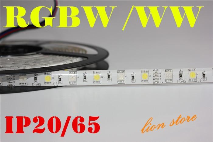 5M RGBW 5050 LED strip Light Waterproof IP20/65 DC12V SMD 60Leds/M 300 LEDS Flexible Bar ...
