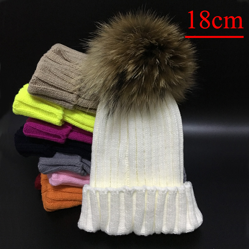 2017 New mink and fox fur ball cap pom poms winter hat for women girl 's hat knitted beanies cap brand new thick female cap new star spring cotton baby hat for 6 months 2 years with fluffy raccoon fox fur pom poms touca kids caps for boys and girls