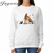 Babaseal Group Of Pets Kpop Embroidered Hoodie Crewneck White Long Sleeve Sweatshirt Cool Crewnecks Women Pullover Sweatshirt