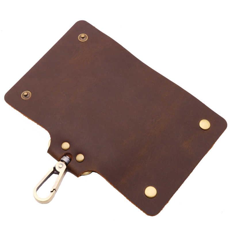 Винтажная ключница из натуральной кожи, женские кошельки для ключей, Женский органайзер для ключей, брелок для ключей, сумка-Футляр для ключей, сумка Crazy Horse
