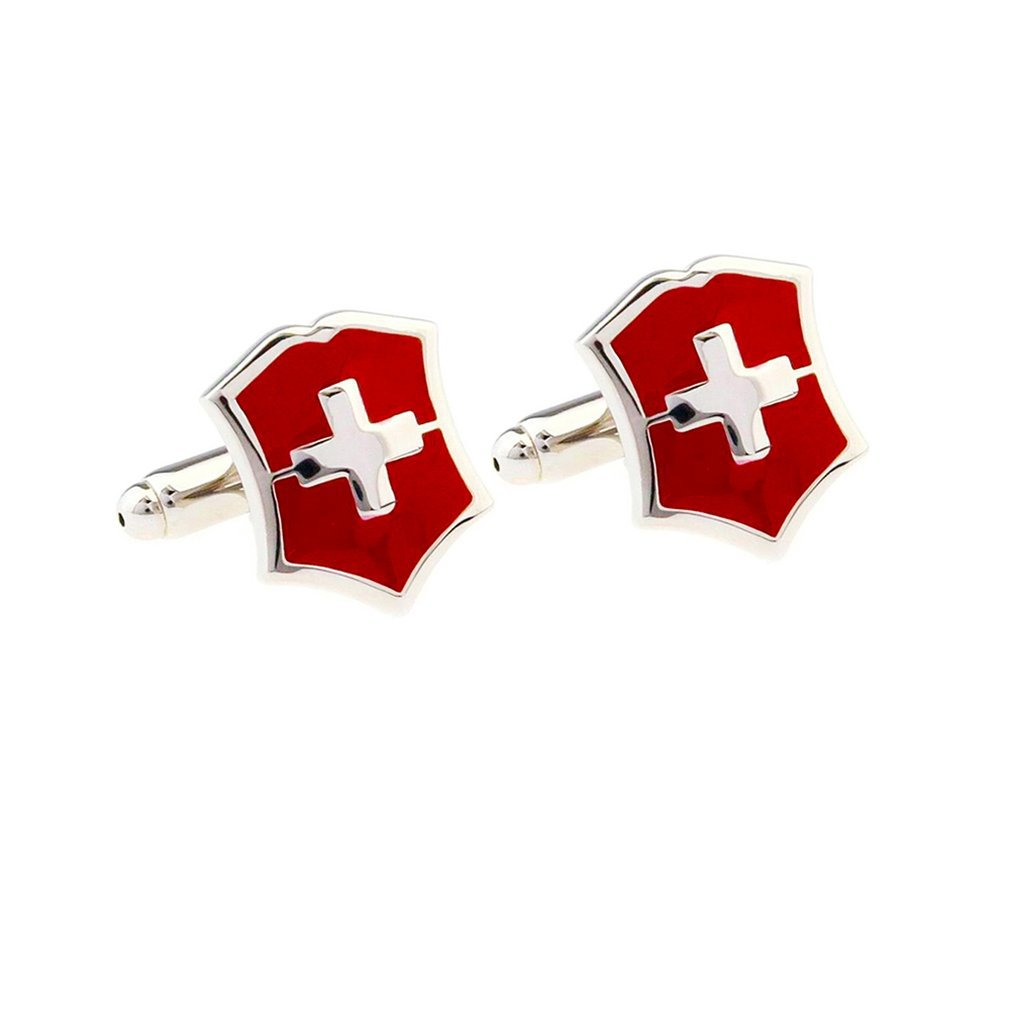 F5430 Red Flag Cross Cufflink Simple Style Shirt Cufflinks Shirt Cuff Button Cuff Links Best Gifts Luxury Design
