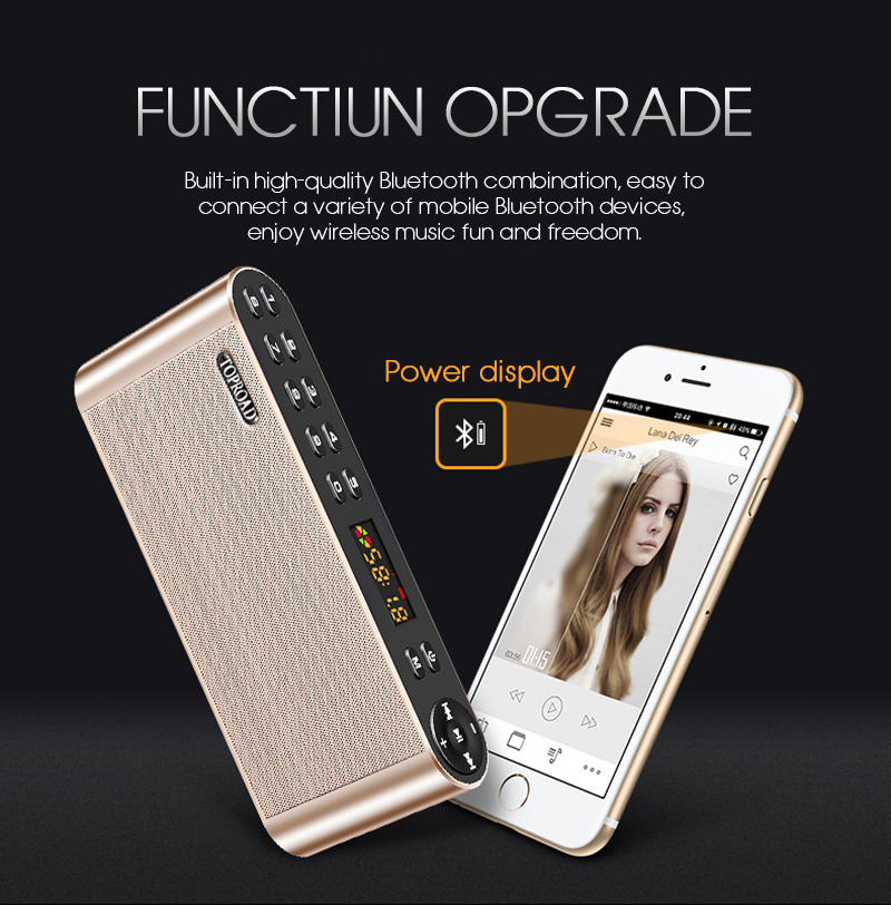 TOPROAD HIFI Wireless Bluetooth Speaker With Super Bass Dual Speakers Soundbar And FM Radio 9