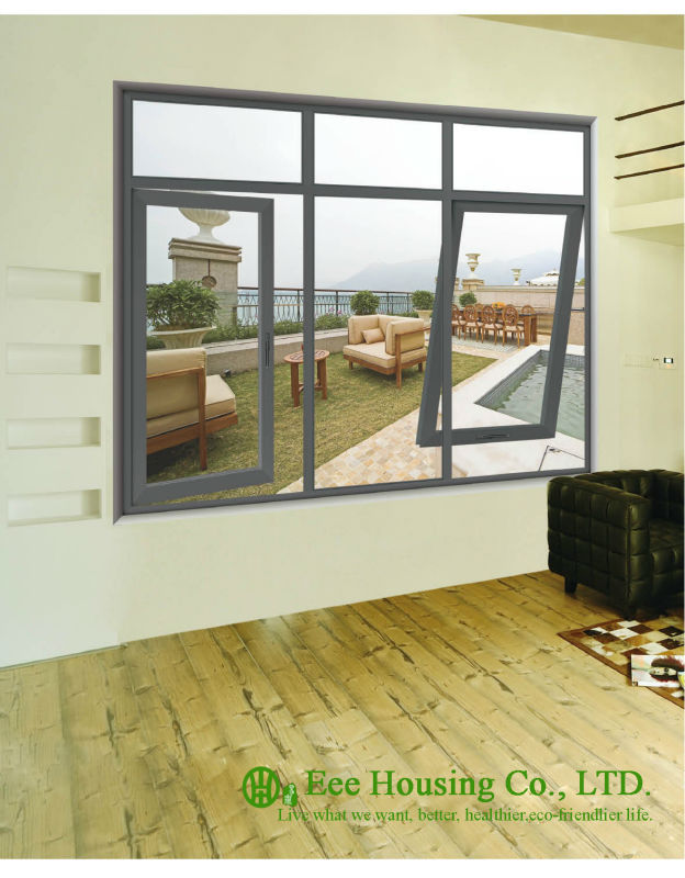 Double Glazed Aluminum Casement And Picture Windows, Grey Profile Color, Aluminum Framed Double Glazed Awning And Fixed  Window
