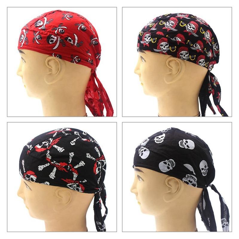Skull Cap Motorcycle Helmet Liner Biker Head Wrap Cover Scarf Pirate Hat Bandana Running Beanie Cap