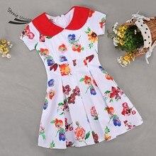 Fashion Summer Kids Girls Peter Pan Collar Short Sleeve High Waist Dress Floral Children Pleated Dress