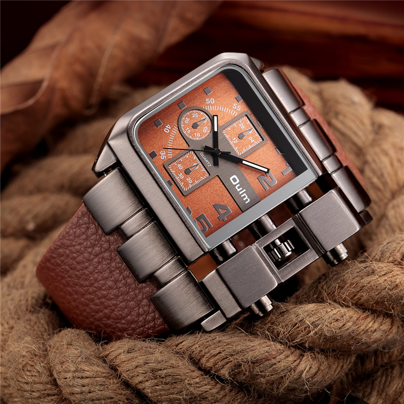 OULM Brand Original Unique Design Square Men Wristwatch Wide Big Dial Casual Leather Strap Quartz Watch Male Sport Watches oulm retro unique sport watches men big dial quartz wristwatch thermometer and compass for decoration male military watch clock
