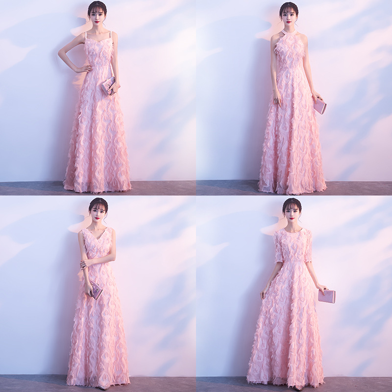 2018 New Elegant Pink Long Bridesmaid Dresses V Neck Bridesmaid Dress A-Line Lace Dresses For Wedding Party Women Mingli Tengda