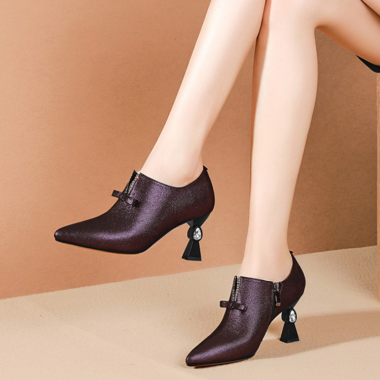 MLJUESE 2019 women pumps Sheepskin purple color Rome style autumn spring shallow pointed toe high heels