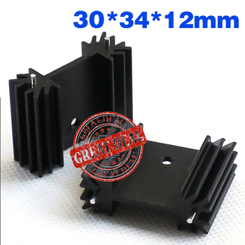 Free Ship 100PCS Custom high quality Aluminum Heatsink 30*34*12MM TO-22 heatsink black Transistor radiator