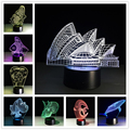 Sydney Opera House 7 Colorful 3D Lights Children'S Nightlight Visual Led Night Lights Illusion Mood Lamp Lamparas 3D