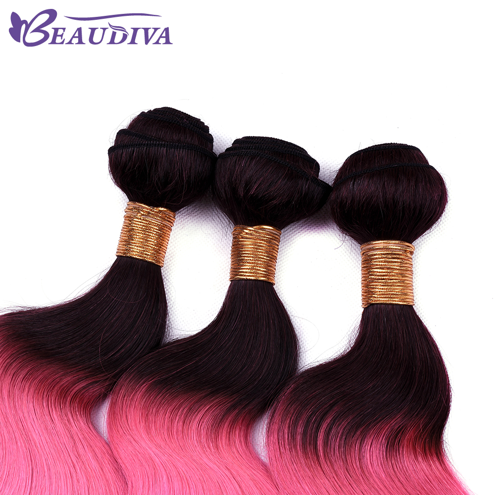 Beaudiva Hair TB Pink Color Brazilian Body Wave Hair 2/3 Bundles With 4*4 Closure Human Hair Extention Human Hair Free Shipping