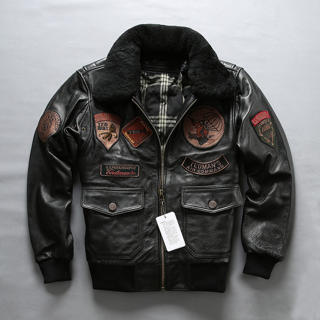 cebb315ab46 AVIREX FLY winter flight jacket fur collar genuine cow leather coat men  patches pilot bomber jacket for men black M 4XL-in Genuine Leather Coats  from Men s ...