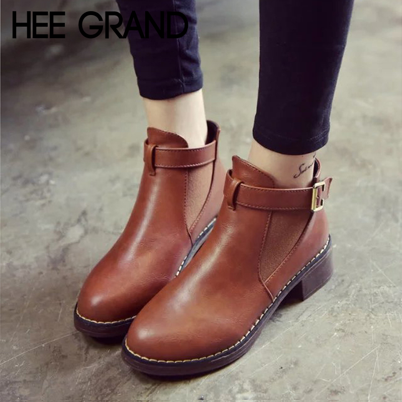 HEE GRAND Pu Leather Fashion Solid Flat Ankle Winter Boots Casual Women Flats Platform Shoes Woman 4 Color Size 35-40 XWX7131 hee grand women rainboots 2017 flat rubber ankle boots waterproof lace up platform shoes woman candy color size 35 40 xwz4506