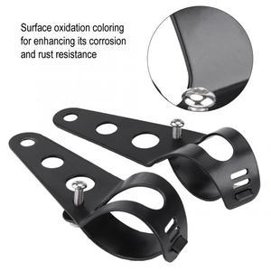 Image 5 - 1 par de soporte para el faro delantero de la motocicleta soporte de montaje Universal de acero inoxidable, accesorios para motocicletas negro/plateado