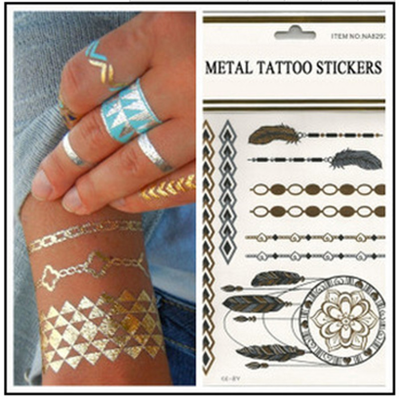 Creative Design DIY Metal Bronzing Water Transfer Tattoo Stickers Euro-american Environmental Temporary Tattoo Sticker 10PCS lingerie top