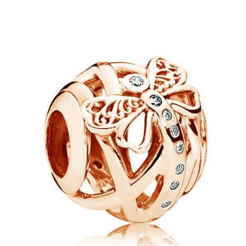 Роскошный золотой цвет большая бабочка пчела Хрустальная стрела сердца Шарм для браслета Pandora Браслеты и браслеты для женщин DIY Изготовление