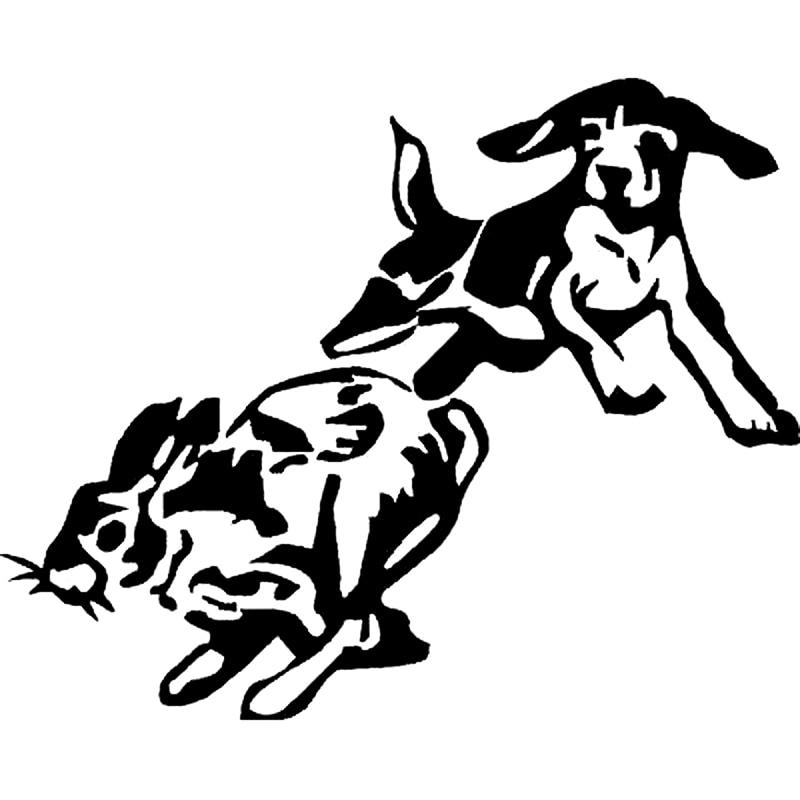 14.9cm*12cm Vinyl Decal-Beagle Chase Rabbit Dog Puppy Hunting Car Sticker S6-3491