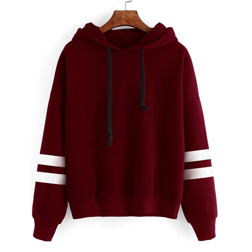 Causal Autumn Hooded Pullover Striped Sweatshirt Women Long Sleeve Pullover Streetwear Fleece Hoodies Drop Shipping Jumper knitting