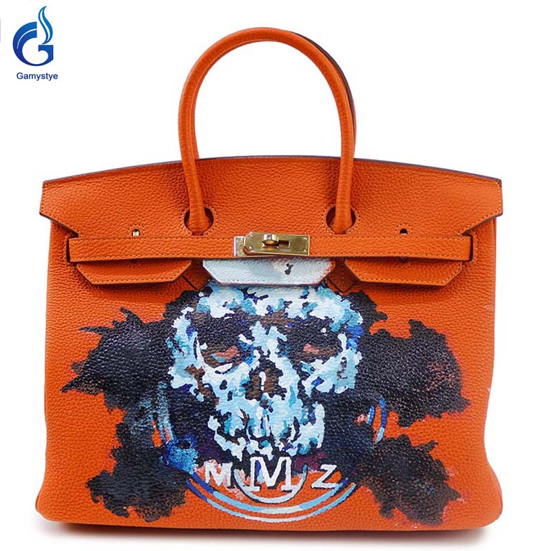 Orange handbags with Skull brand 2016 Women Genuine Leather Handbag Messenger Bag Hand Painted art bags Custom Design tote YG