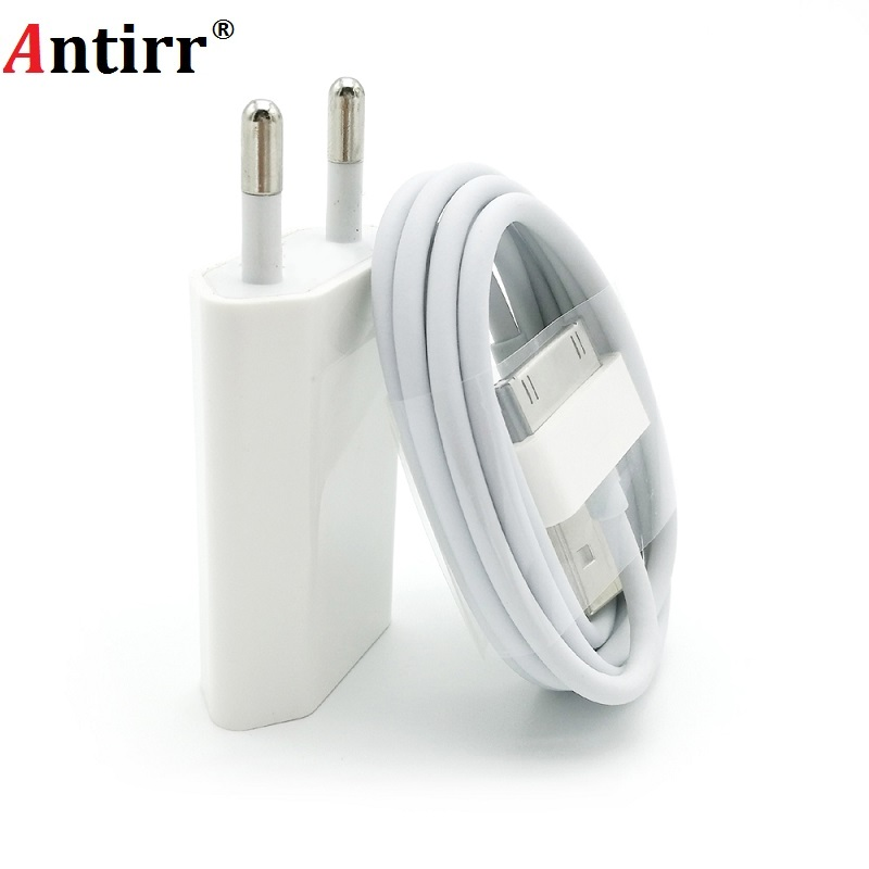 Antirr For iphone 4 USB Charger 30 pin EU Plug AC Travel Wall Charging Fast Charger For iphone 4s 4 3GS iPod Nano / Touch 5V 1A