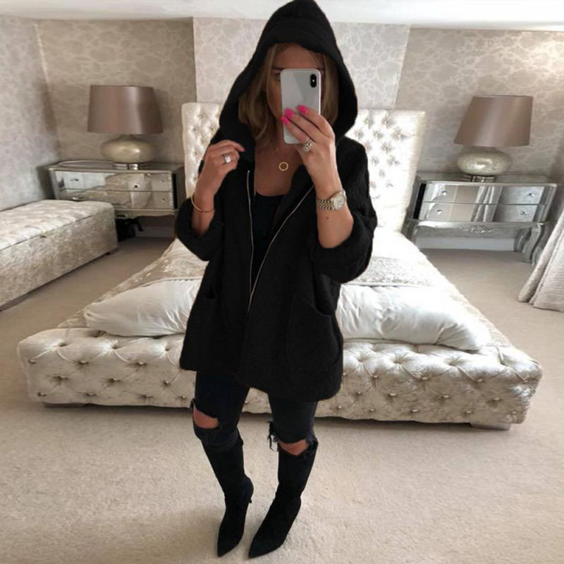 New Elegant Women Hooded   Jacket   Hoodie Harajuku Coat Side Zipper Ladies Casual   Basic     Jackets   2018 Autumn Winter Pocket X4