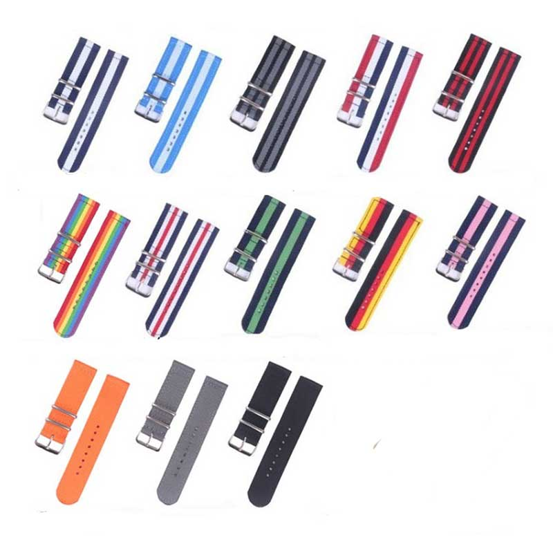 20mm Nylon Watch Strap 22mm Watch Band 18mm Nato Strap Solid Color Watch Belts For Samsung Gear S3 Frontier S2(China)