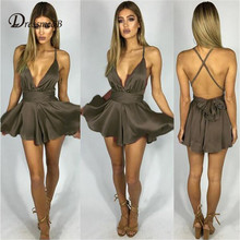 DRESSMECB Summer Sexy Sleeveless V Neck Overalls Female Solid Backless Playsuits 2018 Romper Women Casual Short