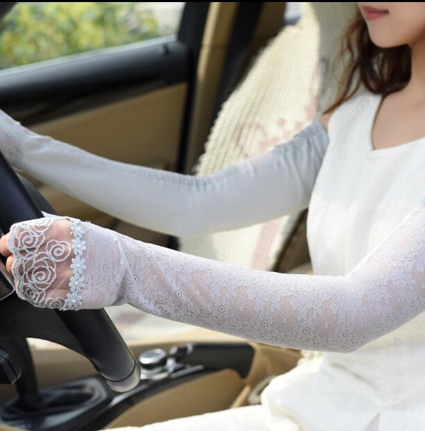 Women's Long Cotton Sunscreen Driving Glove Lady's Summer Fingerless Sexy Lace Driving Glove R215
