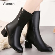 Vianoch Fashion New Womens Snow Boots Mid Calf High Heels Winter Fur Warm Black Platform Pumps Shoes Lady 41 wo180896