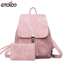 цена на Women Backpack Large School Bags For Teenage Girls Shoulder Bag Vintage PU Leather Backpacks Waterproof Casual Solid Rucksack