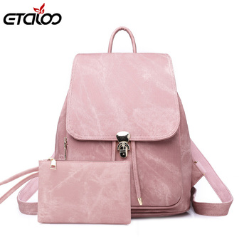 Women Backpack Large School Bags For Teenage Girls Shoulder Bag Vintage PU Leather Backpacks Waterproof Casual Solid Rucksack ukqling brand cute cartoon bag small women backpack children backpacks for teenage girls child school bags pu leather