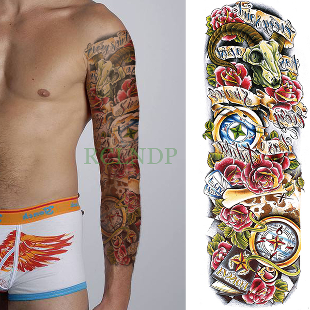 4d4e4a685 Waterproof Temporary Tattoo Sticker full arm large size rose compass old  school tatto stickers flash tatoo