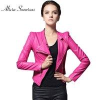 Donne Giacca di pelle Jaqueta De Couro Breve delle Donne della Pelle Scamosciata Del Faux Cappotto di cuoio Motociclista Rosa Rosso Nero Veste En Cuir Femme