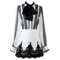 2019 New Runway brand Black Lace Embroidery Bow Tie Collar Shirts Blouses A line Skirt Set Elegant Ladies Party Two Pieces Sets