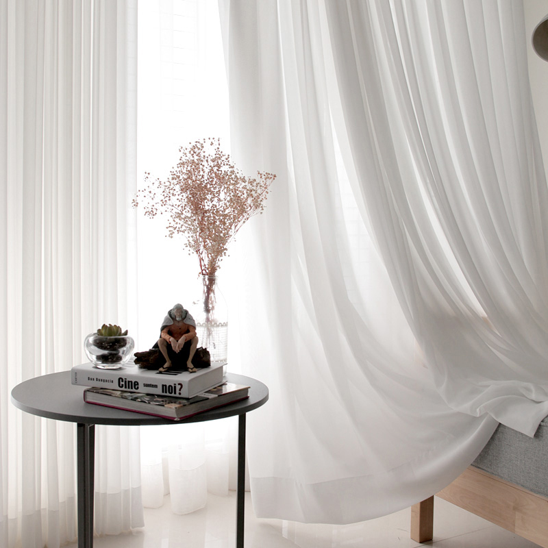 White Tulle Curtains for Living Room Decoration Modern Chiffon Solid Sheer Voile Kitchen Curtain(China)