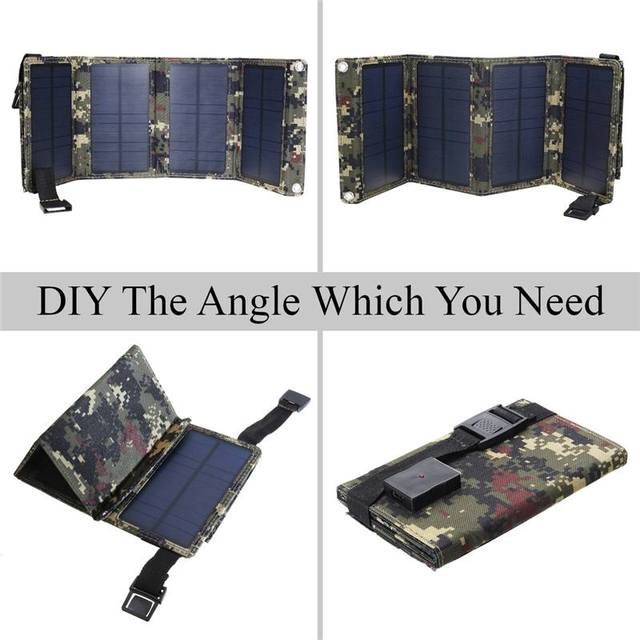 Portable 20W Solar Panel Folding Solar Cell Foldable Waterproof USB Port Charger Mobile Power Bank for Phone Battery Outdoor 4